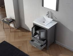 virtu usa 24 single bathroom vanity set in zebra grey