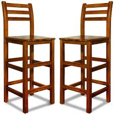 tabouret de cuisine en bois 2x tabouret haut en bois acacia bar dossier repose pied 110x40x36cm