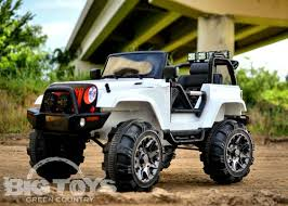 jeep cars white 12v big toys lifted power wheel jeep white