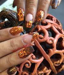 copper fall color nails nail art gallery