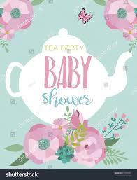 invitation card baby shower tea party stock vector 671365555