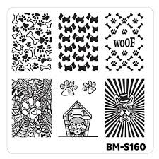 nail art stamping plates fuzzy and ferocious bm s160 canine