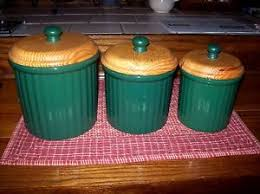 kitchen canisters green vintage debco green kitchen canisters set of 3 heavy pottery