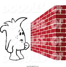 vector clipart of a squiggle doodle guy facing a brick wall