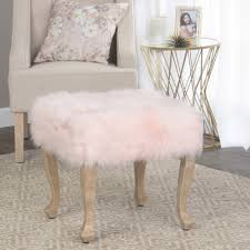 homepop faux fur blush square stool wood legs homepop
