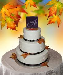wedding cake ribbon 3 tier buttercream wedding cake with brown ribbon amp autumn