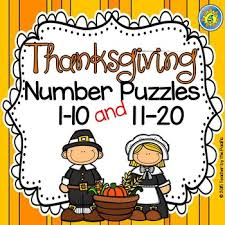 free thanksgiving math number puzzles 1 10 and 11 20these free