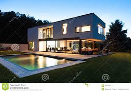 modern villa with pool stock photography image 32425262