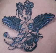 awesome cartoon colored gothic style fairy tattoo with
