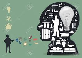 home appliances icons in a male head silhouette home improvement