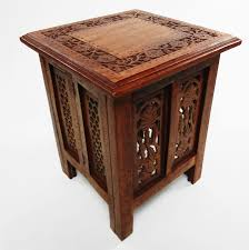 beautiful antique effect hand carved indian wooden table side