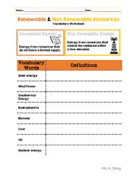 renewable u0026 non renewable resources vocabulary worksheets and
