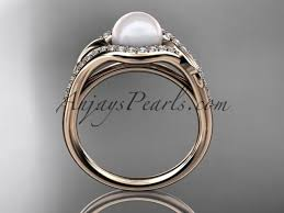 leaf engagement ring 14k gold diamond pearl leaf engagement ring ap334 t