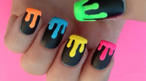 dripping neon paint nail art youtube