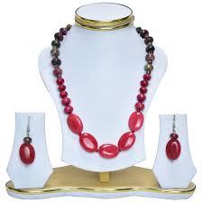 fashion jewellery necklace sets images Stylish wine red agate fashion jewellery necklace set selfmart jpg