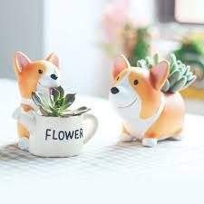 amazon com welsh corgi planter flower pot succulent dog planter