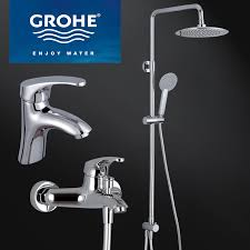 Online Get Cheap German Faucet Aliexpress Com Alibaba Group Modern Grohe Chrome Finish Brass Bathroom Rain Shower Set Faucet