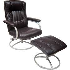 Recliner With Ottoman Mainstays Swivel Recliner With Ottoman Brown Walmart Com