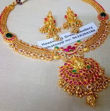 gold big pendant necklace images Stunning one gram gold necklace with big lakshmi devi pendant jpg