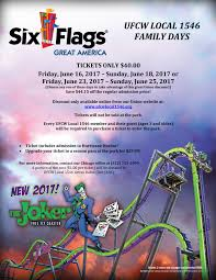 Coupons For Six Flags Six Flags Great America Family Days Ufcw Local 1546
