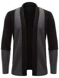 black sweater with white collar color block turndown collar longline cardigan in brown m