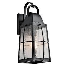 kichler outdoor lighting lowes shop kichler tolerand 17 75 in h textured black outdoor wall light