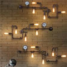 iron pipe wall lamps ancient water pipe american vintage