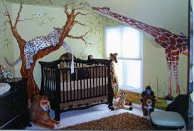 beauty bedroom design for baby boy with green color and chocolate