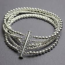 multi chain silver bracelet images Sterling silver bead bracelet multi strand with slide clasp 7 5 jpg