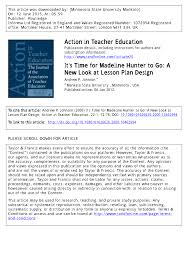 it u0027s time for madeline hunter to go a new look at lesson plan