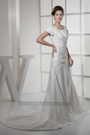 elegant short sleeves a line taffeta wedding dresses