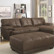 coaster 500325 sofa chaise sectional with brown microfiber upholstery