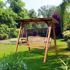 outsunny 3 seater larch wood wooden garden swing chair seat