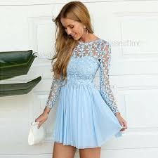 light blue dress a line neck sleeves light blue chiffon homecoming