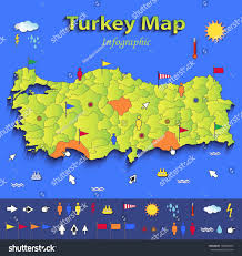 Turkey World Map Turkey Map Infographic Political Map Blue Stock Vector 186964616