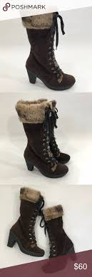 used womens boots size 9 born boots size 9 brown leather lace up faux fur born womens boots