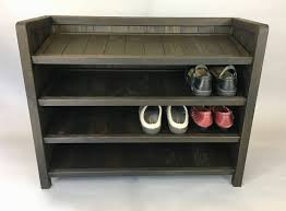 solid wood shoe rack made with reclaimed oak shoe storage
