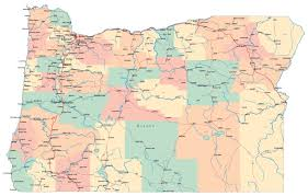 Usa Map Cities by Large Administrative Map Of Oregon State With Roads Highways And