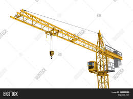 3d rendering of a yellow construction crane isolated on a white