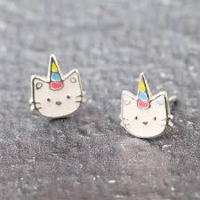 cat stud earrings sterling silver enamel unicorn cat stud earrings angel