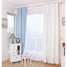 chambre mixte enfant bleu et blanc polyester et coton chambre mixte à pois rideaux enfants