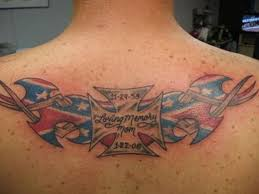 normal rebel flag maltese cross tattoo on upper back tattoos