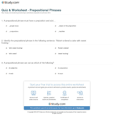 quiz u0026 worksheet prepositional phrases study com