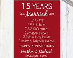 15 wedding anniversary couples print wall wedding anniversary printable