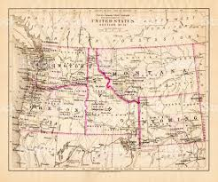 Montana Usa Map by Montana Washington Oregon Idaho Map 1881 Stock Vector Art
