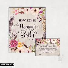 boho how big is mommy u0027s belly game floral baby shower