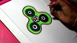 how to draw simple fidget spinner color drawing for kids youtube