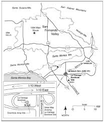Interstate 10 Map Estimated Ground Motion From The 1994 Northridge California