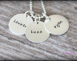 Stamped Name Necklace Mia Name Necklace Etsy
