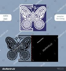laser cut wedding square card template stock vector 733733056